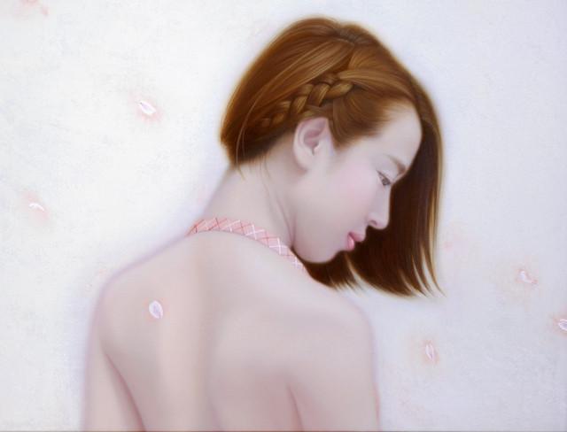 「余白の創造 ... 君と桜舞う一時」 6号P(41.0×27.3cm) 部分 油彩画