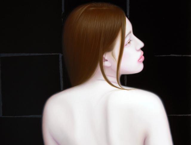 「余白の創造 ... 君と麗」/10号M(33.3×53.0cm) 部分/油彩、黒箔、キャンバス、パネル