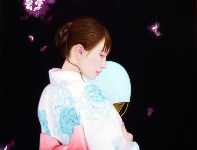 「余白の創造 ... 君と桜舞う一時」/20号M(50.0×72.7cm) 部分/パネル、キャンバス、油彩、金箔、アルミ箔