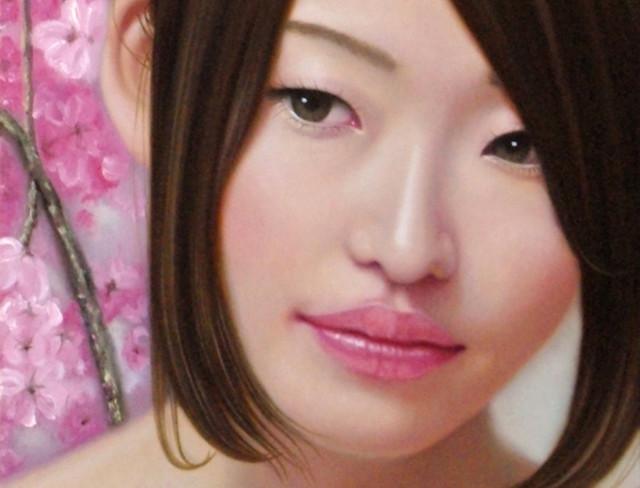 「余白の創造…桜と君」 8号変(15.2×45.5cm) 部分 油彩画