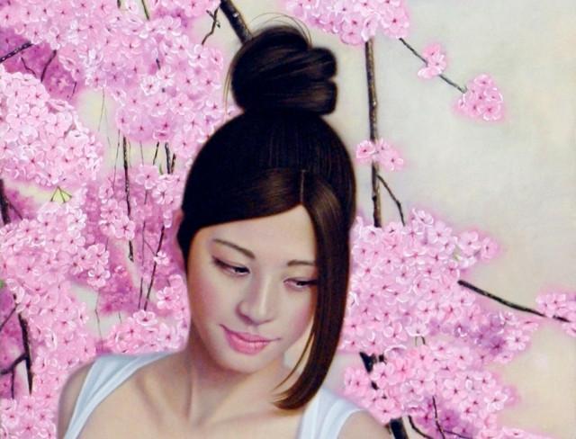 「余白の創造…枝垂桜と君」25号変(33.3×80.3cm) 部分 油彩画