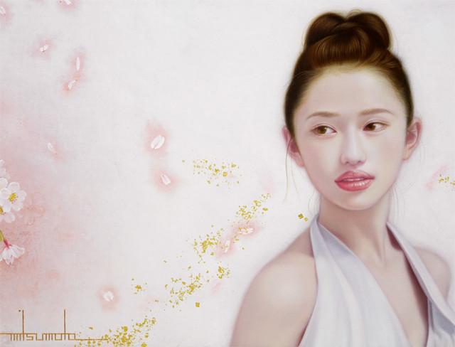 「余白の創造 ... 枝垂桜と君」 6号M(41.0×24.2cm) 部分 油彩画、金箔