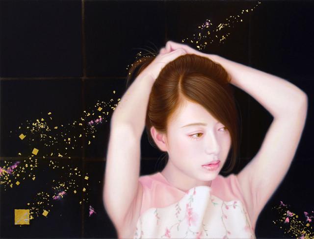 「余白の創造 ... 想と君」 4号F(33.3×24.2cm) 部分 油彩画、金箔、銀箔、黒箔