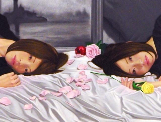 「命の色…君と君の黄昏と余白.」120号M(194.0×97.0cm) 部分 油彩画