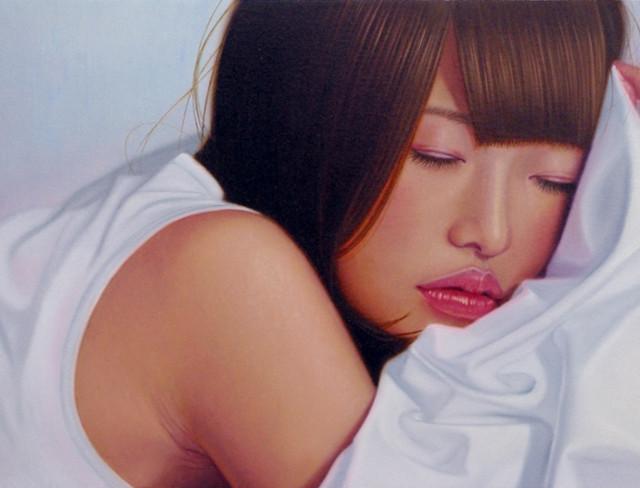 「余白にある…癒しと君」4号M(33.3×19.0cm) 部分 油彩画