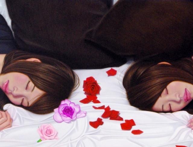 「Contagious Ⅳ…Kimi to Kimi to Bara no Yohaku.」30号変(91.0×33.3cm) 部分 油彩画