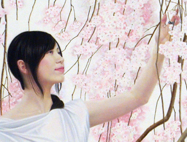 「余白による創造.桜と君」 100号S(162.0×162.0cm) 部分 油彩画
