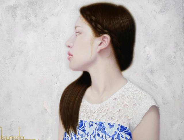 「余白の創造 ... 凛と君」 4号F(33.3×24.2cm) 部分 油彩画