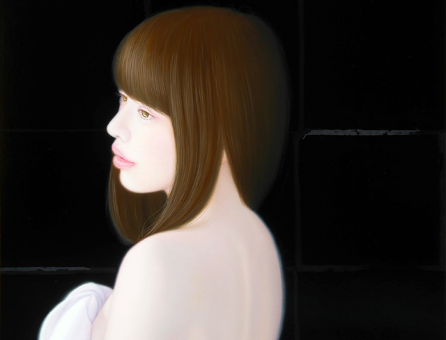 「余白の創造 ... 君と艶」/10号M(33.3×53.0cm) 部分/油彩、黒箔、キャンバス、パネル