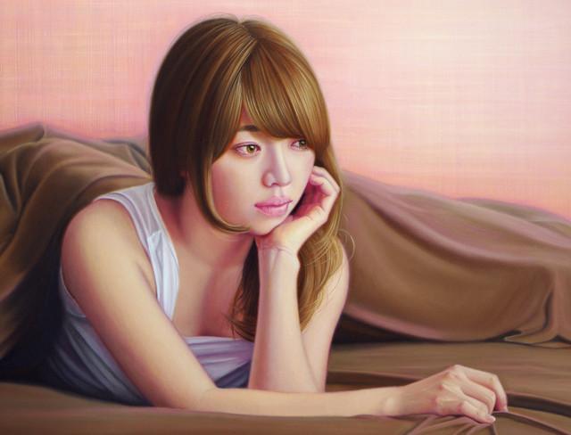 「余白にある ... 暖春と君」 10号P(53.0×41.0cm) 部分 油彩画