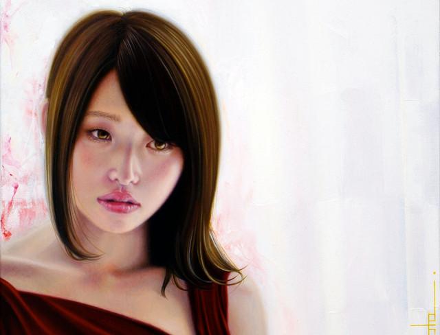 「余白にある ... 光と君」 4号F(24.2×33.3cm) 部分 油彩画