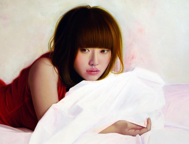 「余白にある ... 秋麗と君」 10号M(53.0×33.3cm) 部分 油彩画