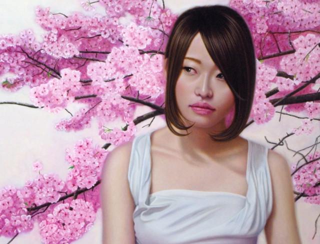 「余白の創造…桜と君」10号P(53.0×41.0cm) 部分 油彩画