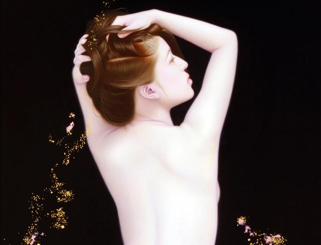 「余白の創造 ... 君と麗」 100号変(60.0×162.0cm) 部分 油彩画、金箔、銀箔、プラチナ箔、アルミ箔