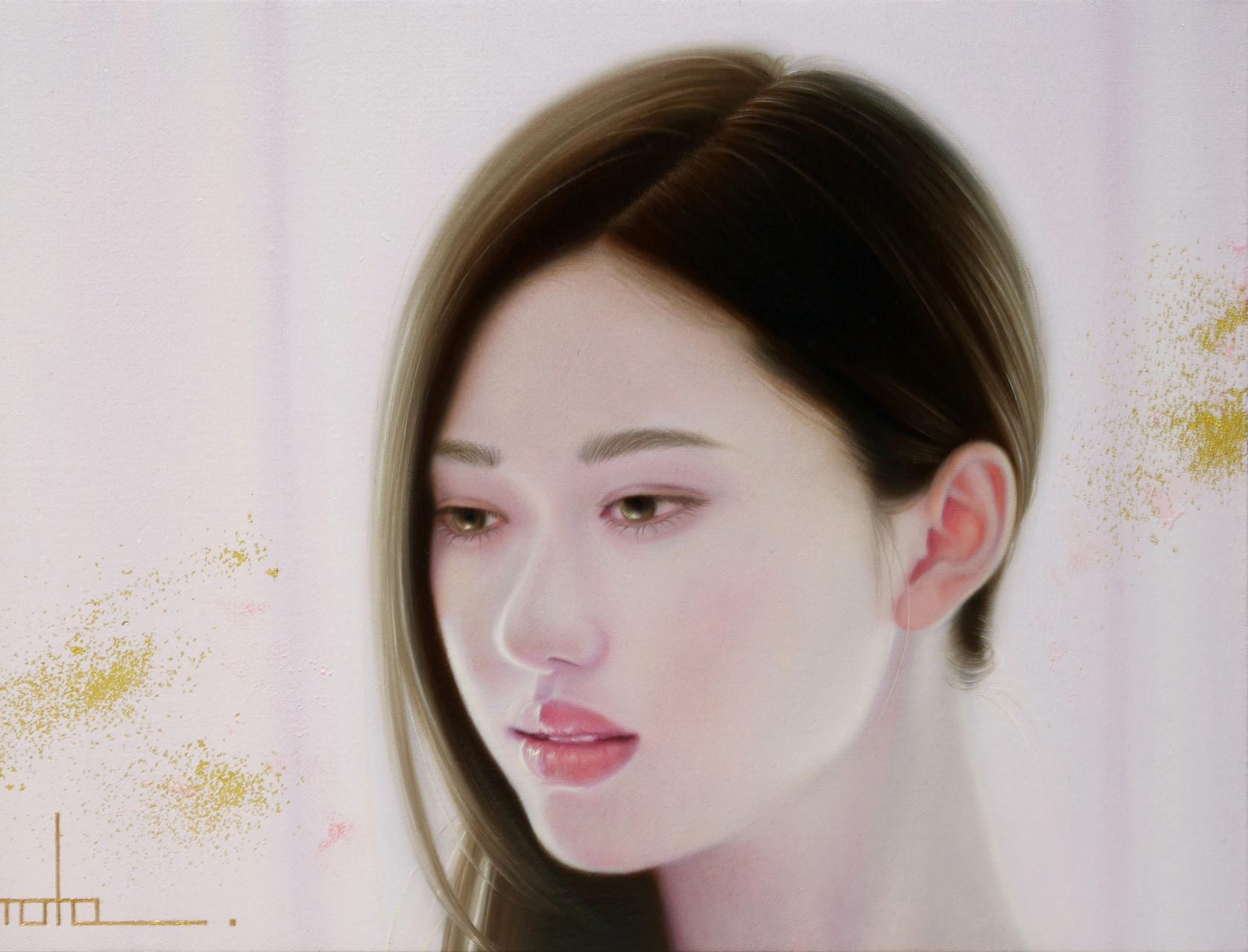 「余白にある ... やわらかな光と君」 3号M(27.3×16.0cm) 部分 油彩画、金箔