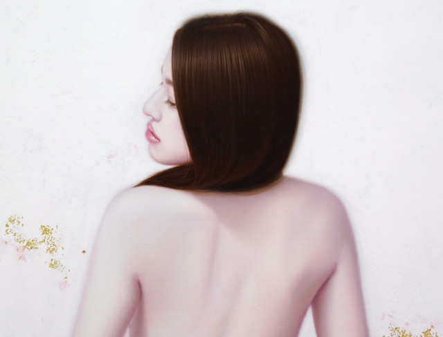 「余白の創造 ... 君と麗」 12号P(60.6×45.5cm) 部分 油彩画、金箔