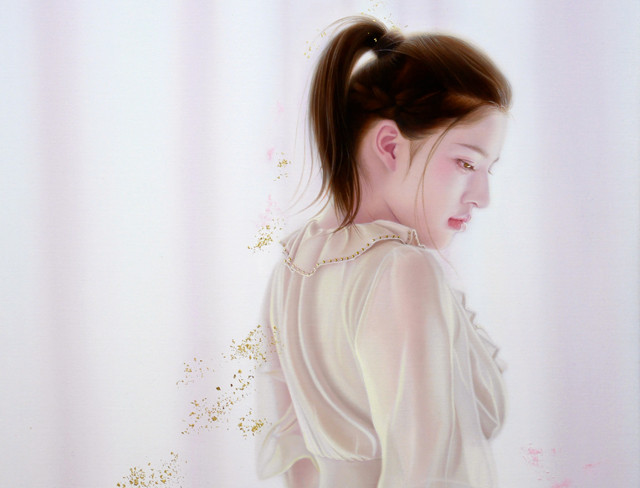 「余白に ... 春光と君」 10号P(41.0×53.0cm) 部分 油彩画、金箔