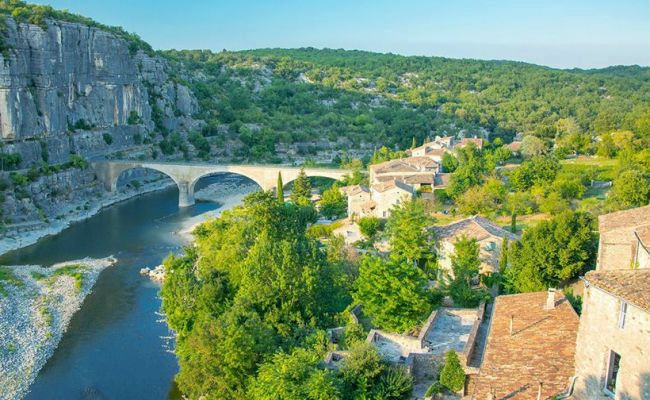 Balazuc and its bridge, village of character in southern Ardèche