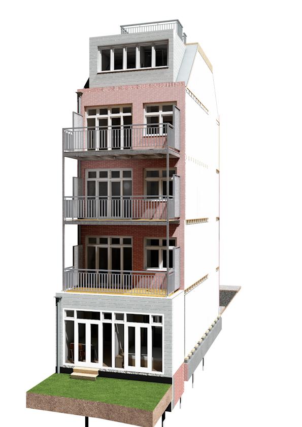 uitbreiding en nieuwe balkons in perspectief