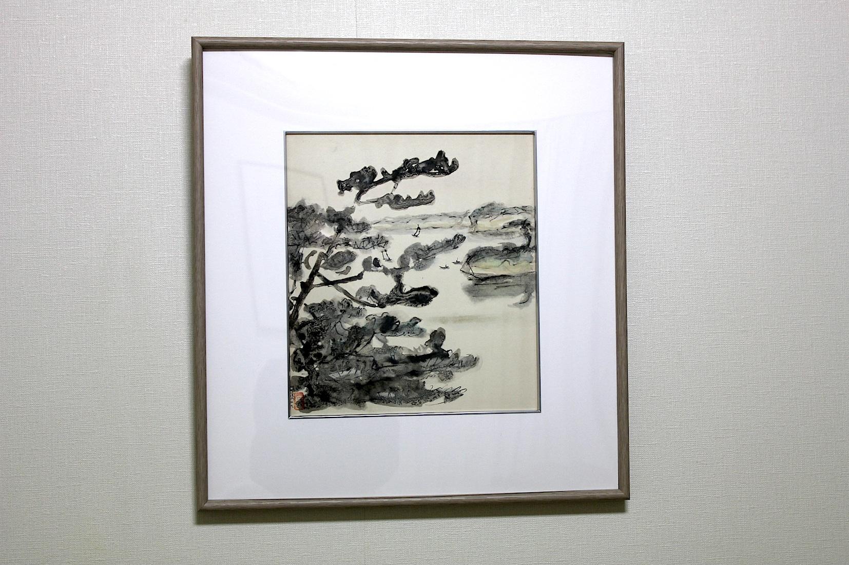 高山辰雄  雄島にて 墨、ペン、色紙