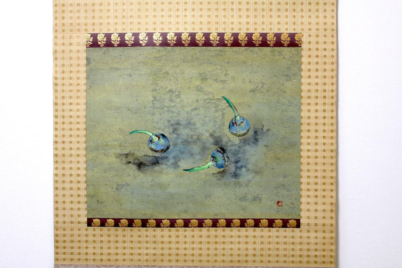 Aguri Uchida  / 内田あぐり  慈姑の図    日本画、掛け軸 1995年頃
