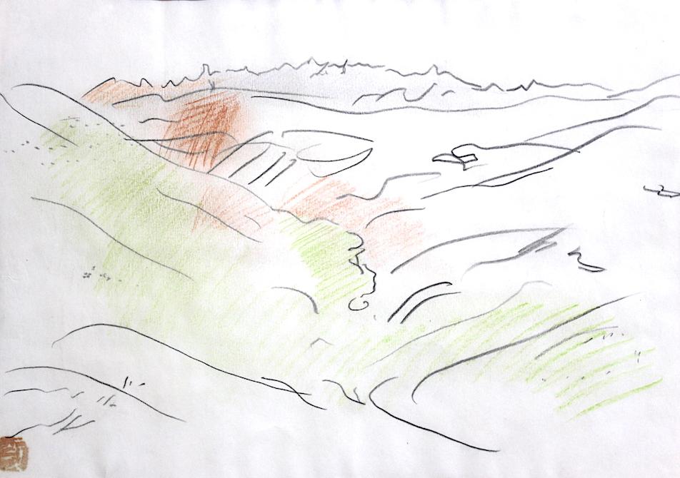 Kunitaro Suda   /   須田国太郎  八幡平のための下絵  鉛筆、色鉛筆、紙  1954年頃