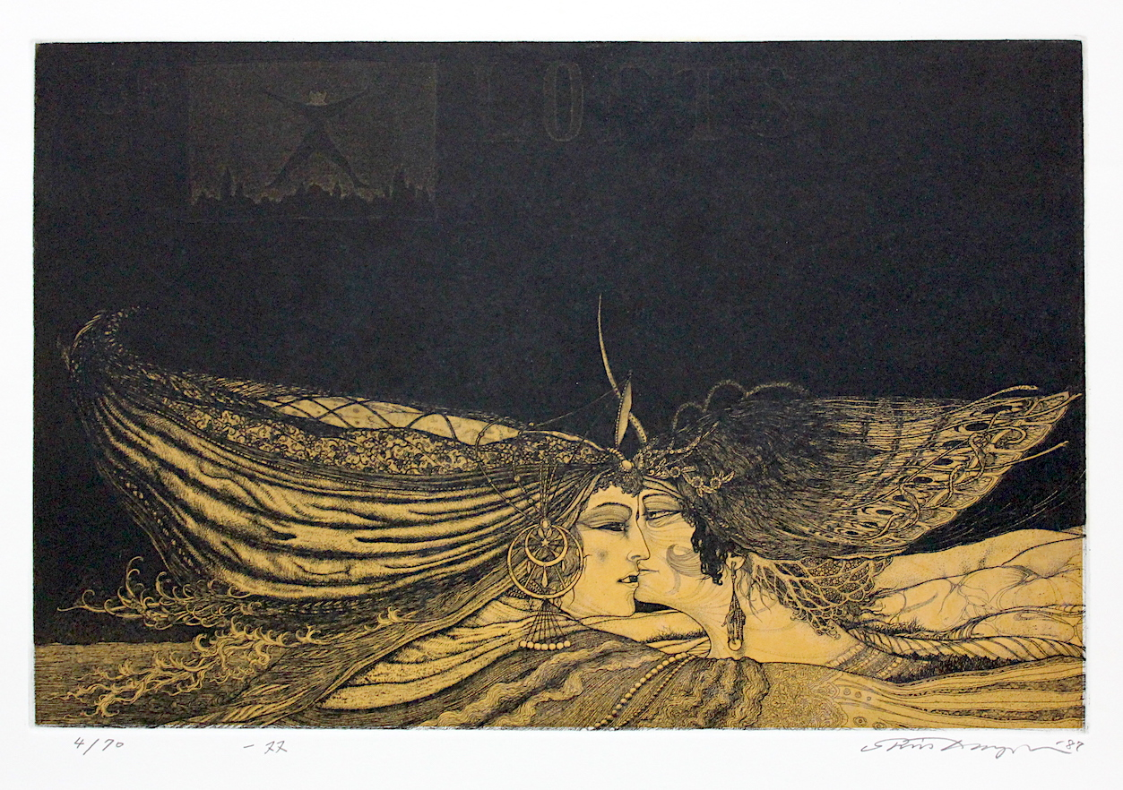 Shin Taga /  多賀新 一双  銅版画、紙 1987年