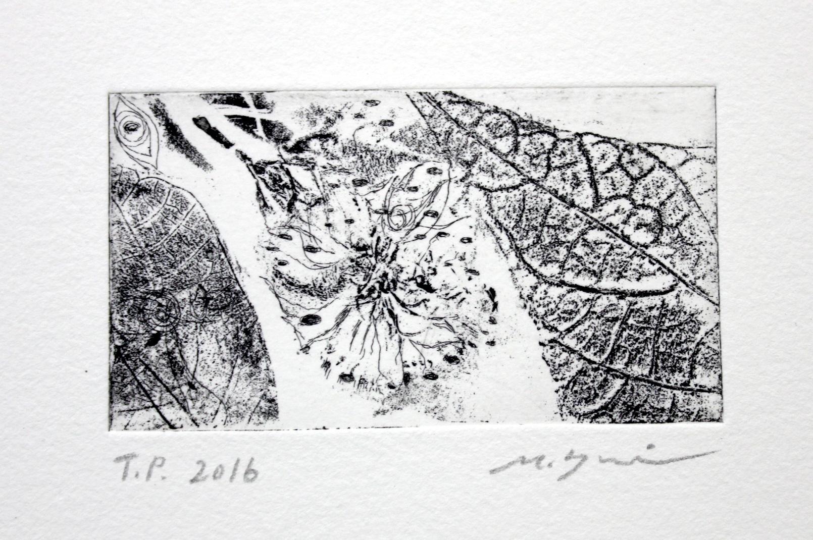 講師による銅版画技法ソフトグランドエッチング(植物の転写)を使った実験的作品