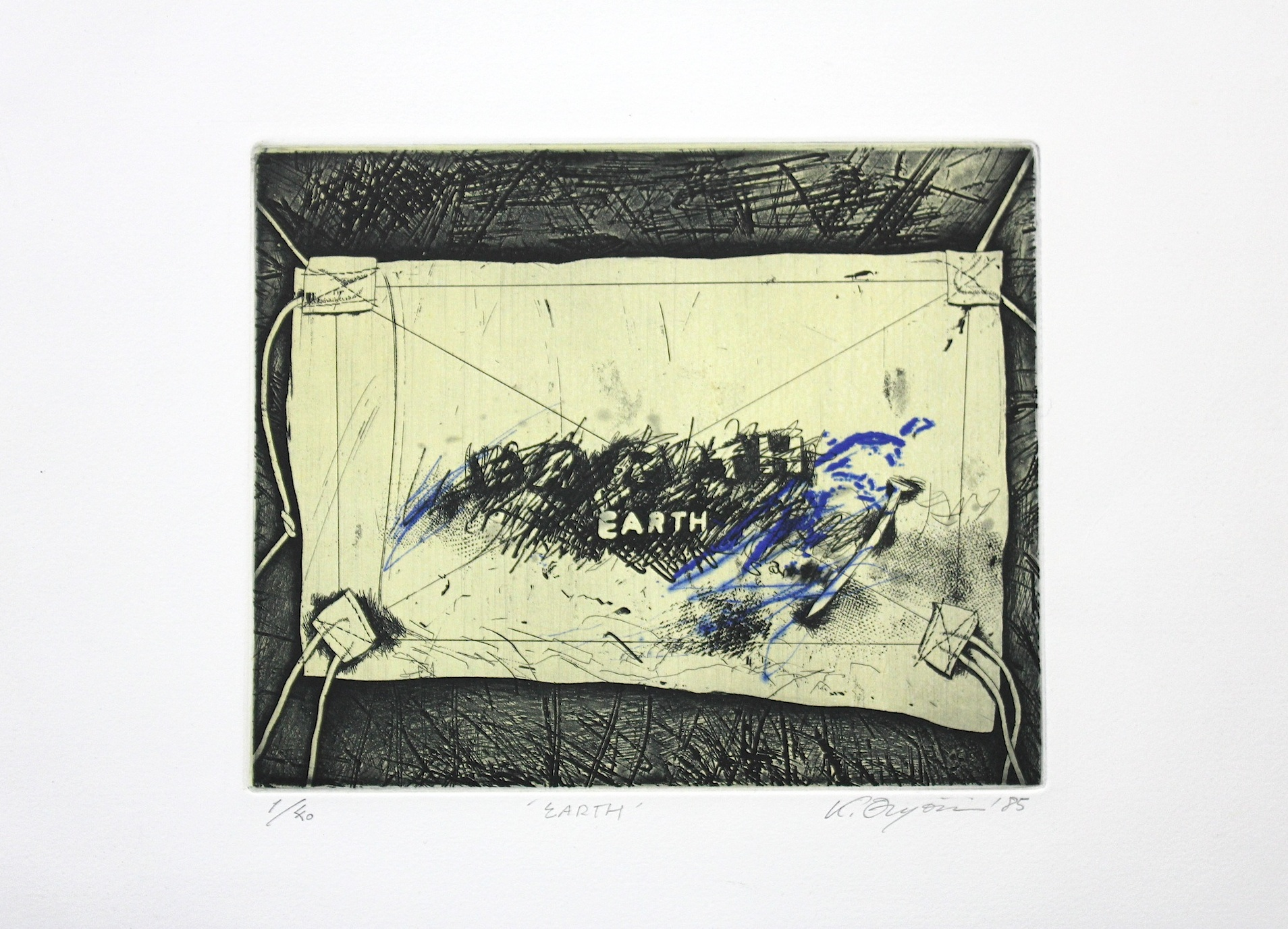 Kenji  Onjyoji  /  園城寺建治 Earth   銅版画 紙 1985年