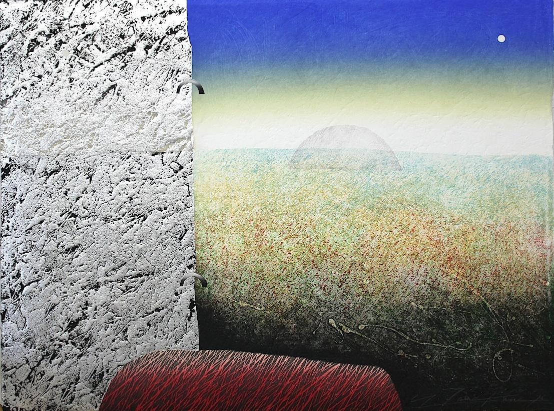 Yoshikatsu Tamekane  /  為金義勝 二つの月ⅡーS 木版画、コラグラフ 1996年