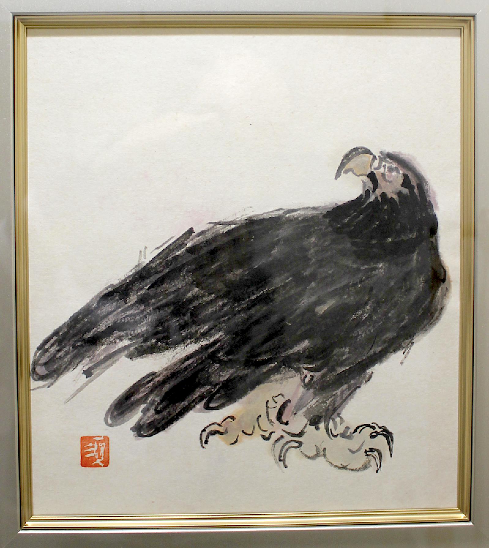 Kunitaro Suda   /   須田国太郎  鷲  墨、水彩、和紙 1950年頃