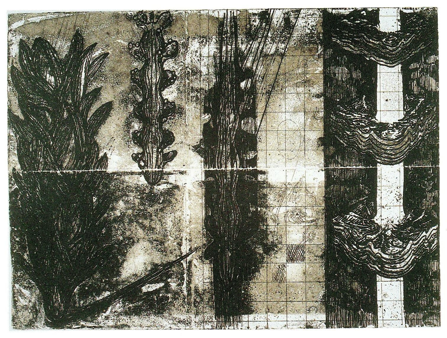 Keisuke  Yamaguchi /  山口啓介 海洋地形図     銅版画、和紙  2002年