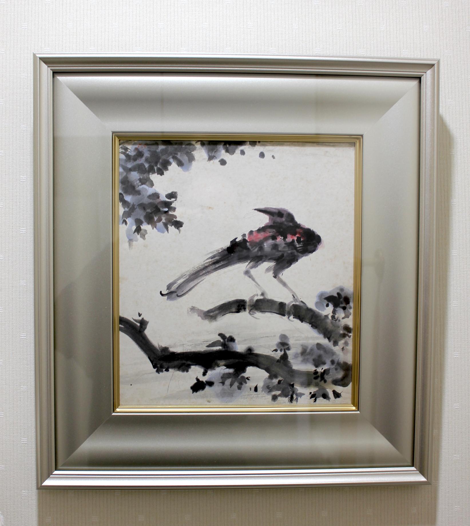 Kunitaro Suda   /  須田国太郎  鳥  墨、水彩、色紙 1950年頃