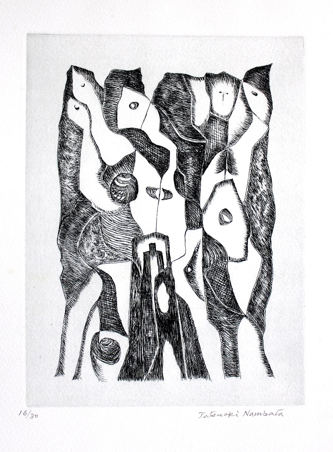 難波田龍起  広場の対話 銅版画、紙  1983年