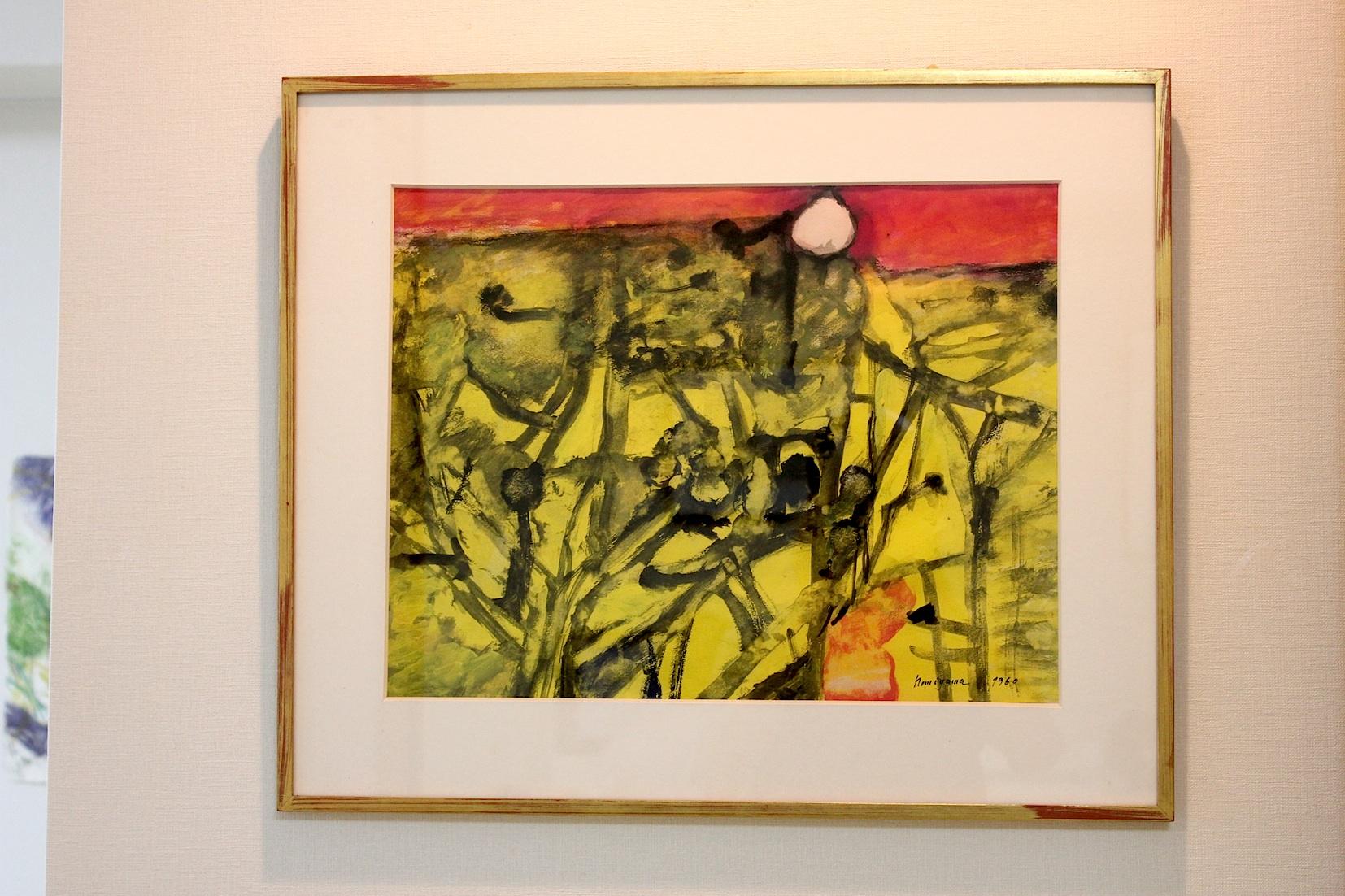 野見山暁治 黄色い風景   グアッシュ、紙 1960年