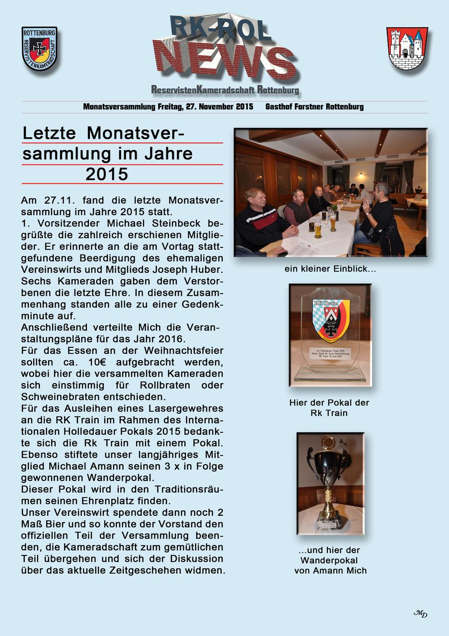 Letzte Monatsversammlung 2015