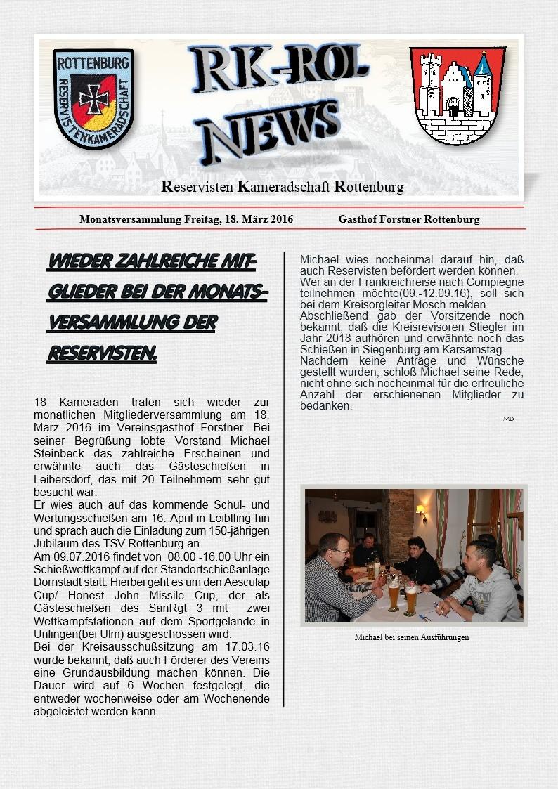 Monatsversammlung 18.03.2016