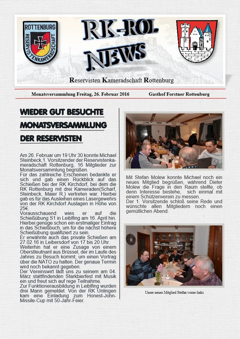Monatsversammlung am 26.02.2016