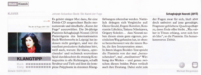"Besprechung der CD ""The Art of Fugue"" im Magazin ""Stereoplay"" (10/2015) von Michael Stegemann"
