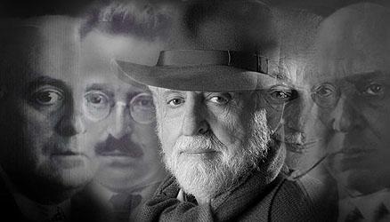 Adorno, Benjamin, Scholem und Schönberg um Carl Djerassi   © David Loveall & Gabriele Seethaler