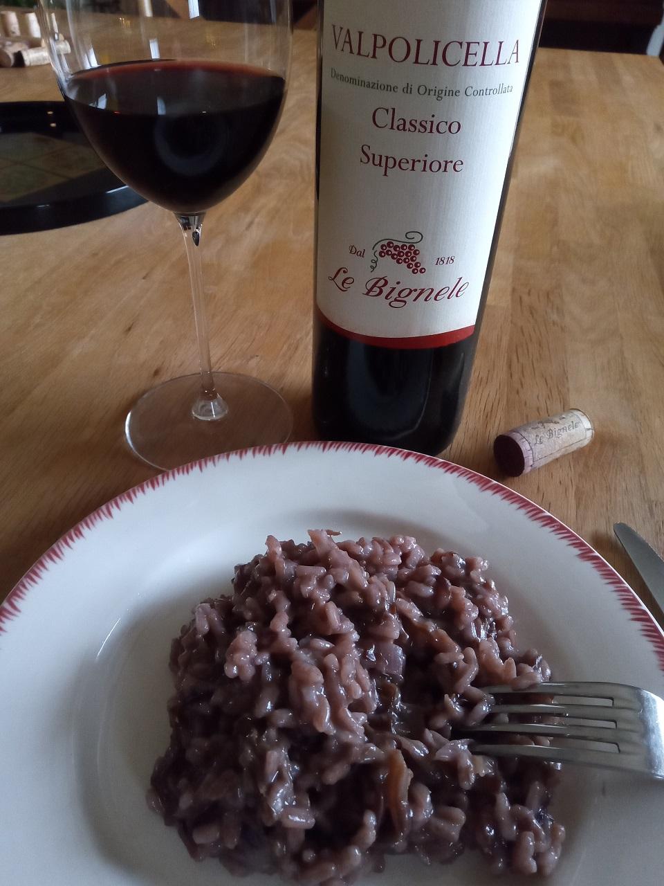 Risotto à la chicorée rouge et au vin rouge