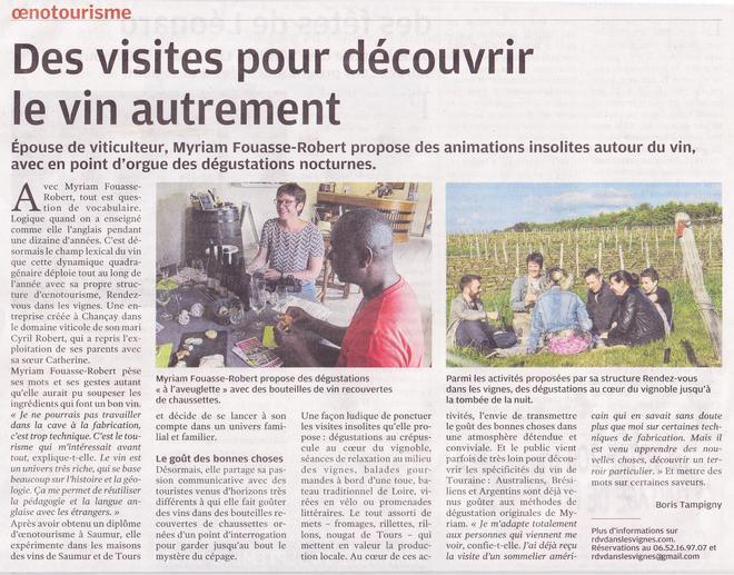 Nouvelle-Republique-27-juillet-2017-visites-vignoble-degustation-oenologie-decouvrir-vin-autrement-original-insolite-Tours-Touraine-Amboise-Vouvray-Vallee-Loire-Rendez-Vous-dansles-Vignes-Myriam-Fouasse-Robertuvray