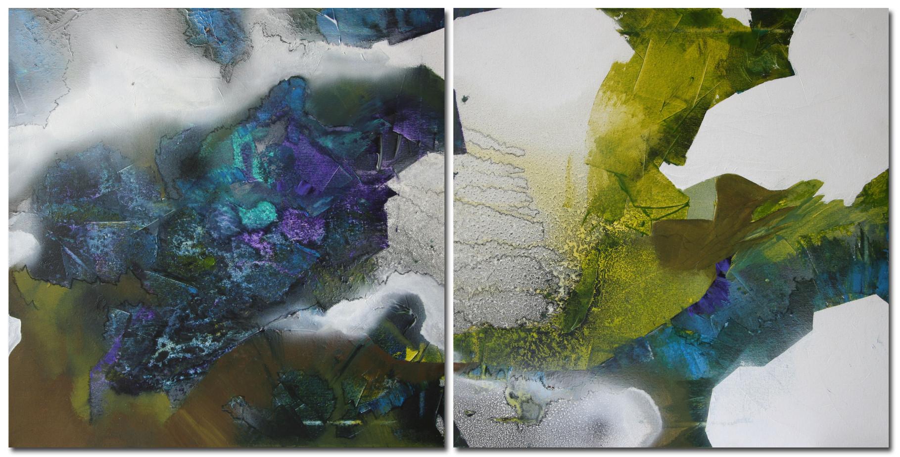 Bild-Collage 1, Acryl auf Leinwand, Gesamtmaß 100 x 50 cm