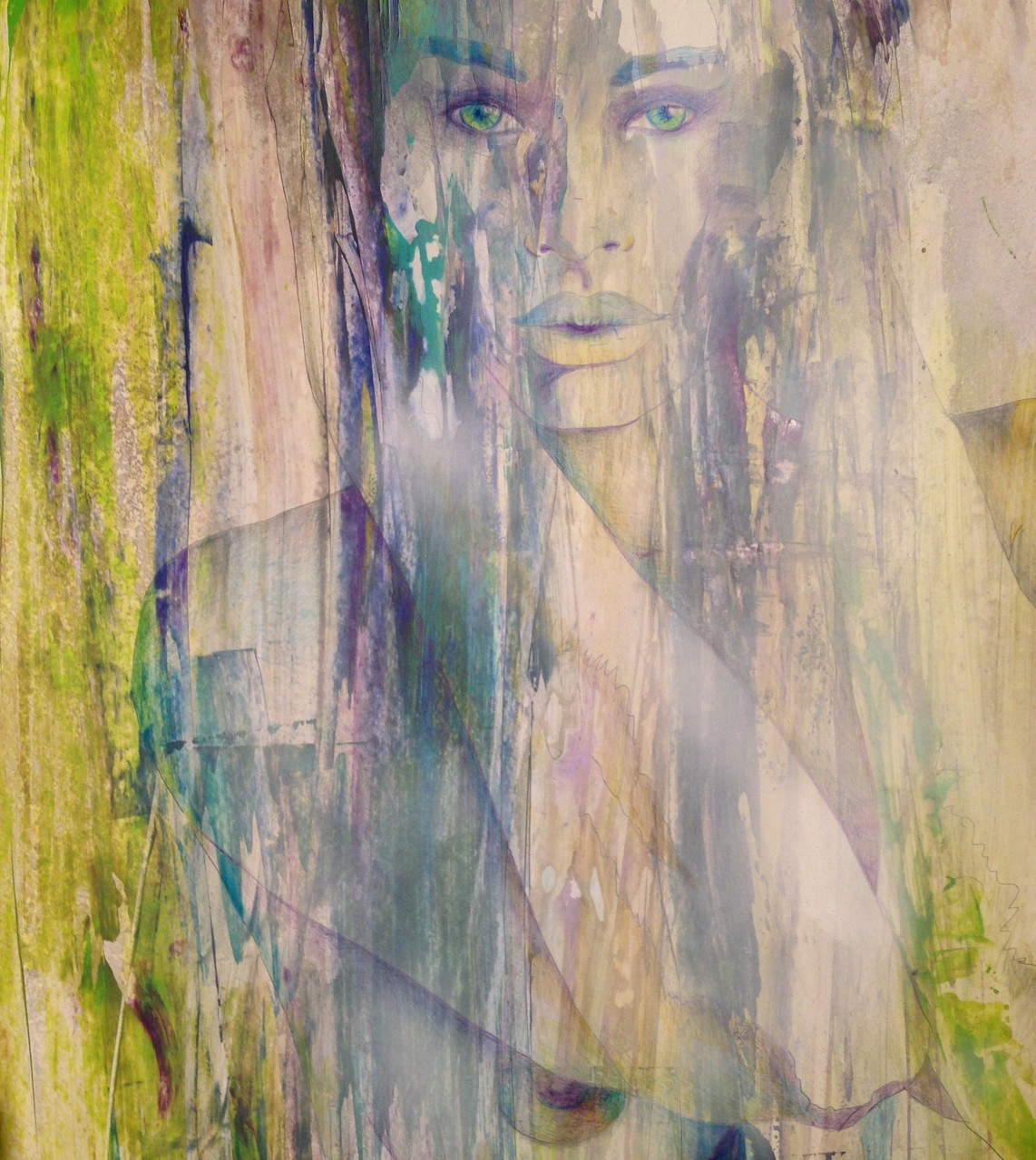 Nomia,  Acryl und Aquarellstift auf Karton, 70 x 50 cm
