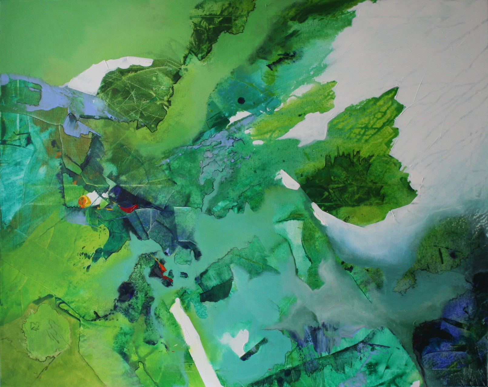 Grünes Gedankenmeer, Acryl auf Leinwand, 100 x 80 cm
