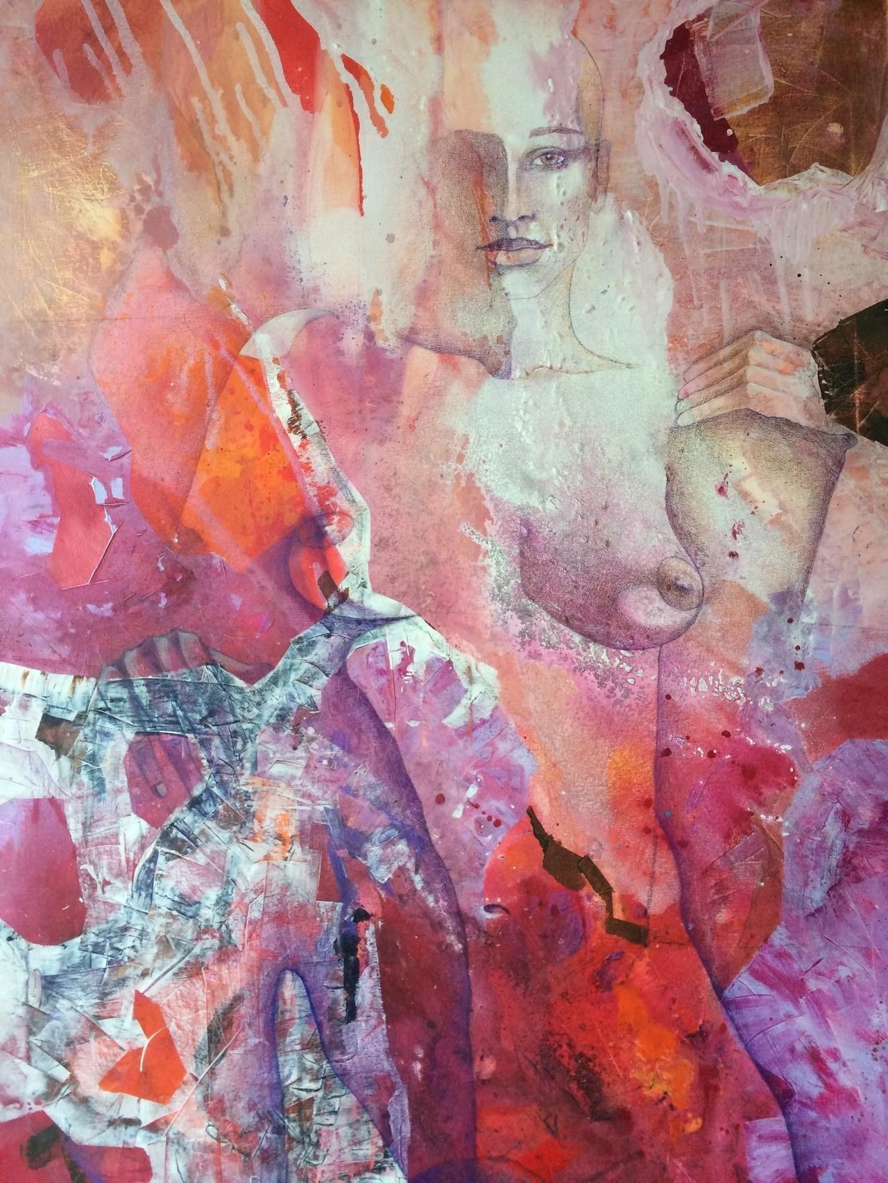 Venus und Vulkanus, Acryl und Aquarellstift auf Leinwand, 80 x 60 cm