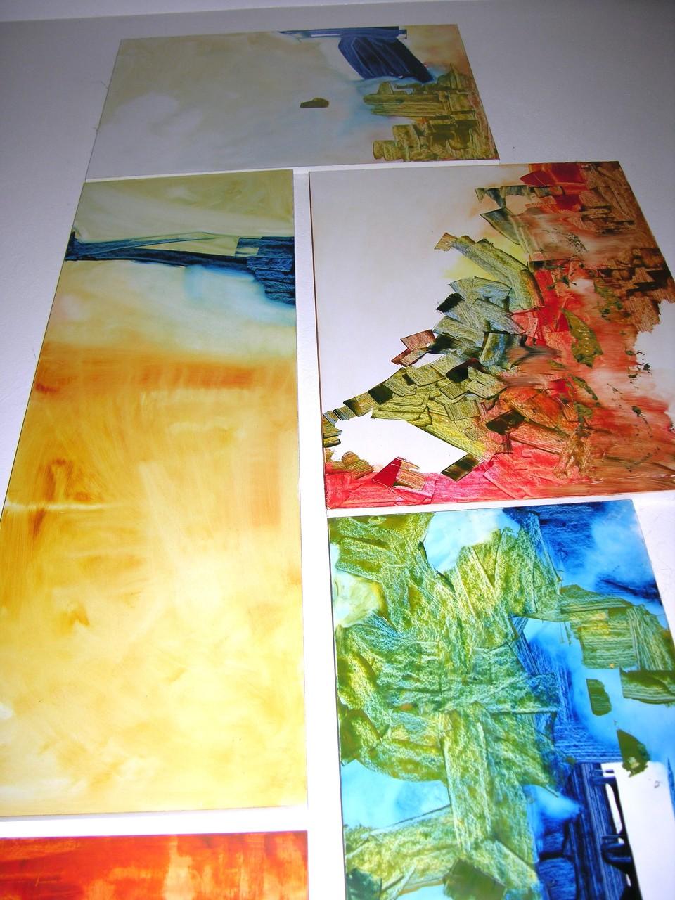 Bild-Collage 2, Acryl auf Holzplatten, Gesamtmaße ca. 300 x 150 cm