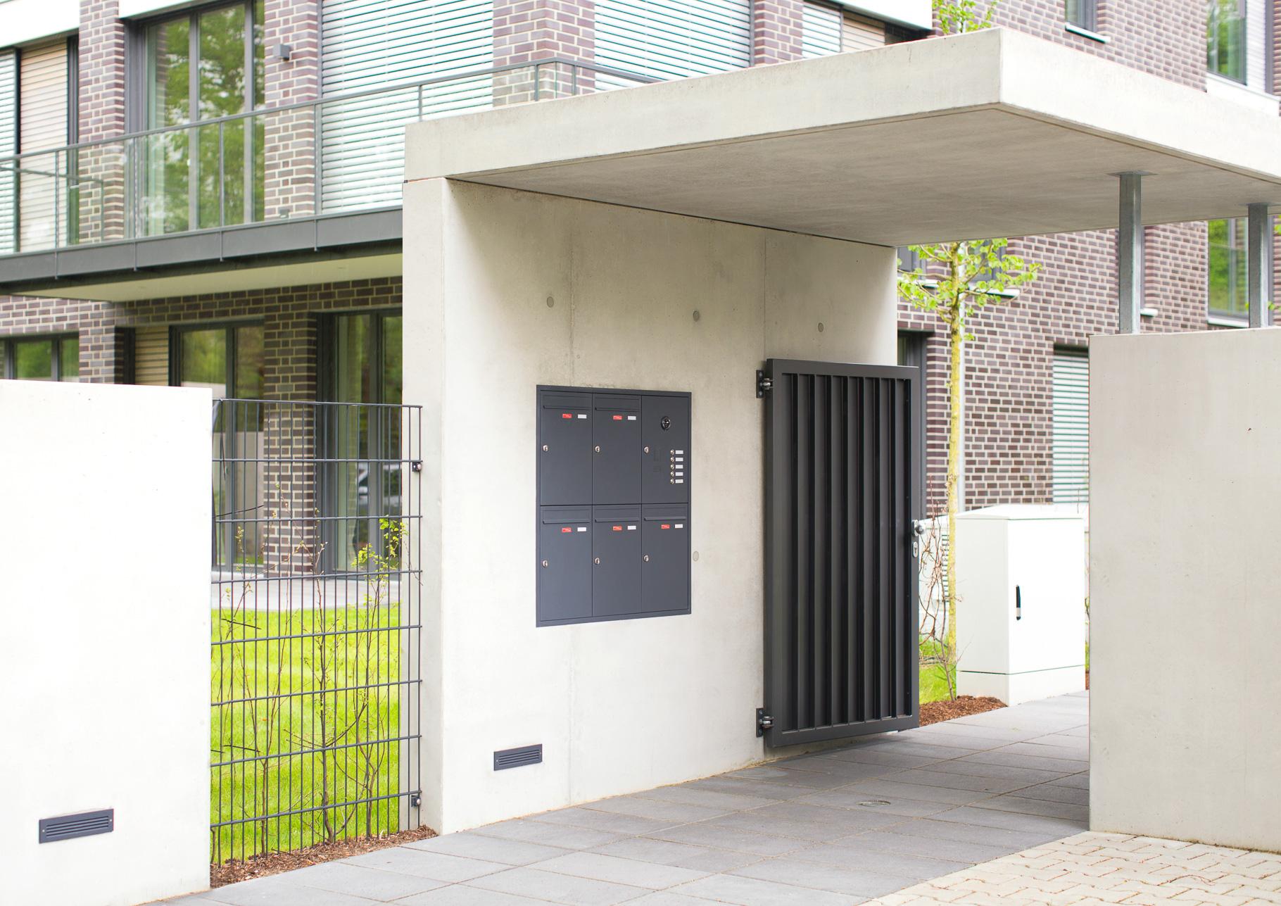 Briefkastenanlage Unterputz für Wohngebäude im Penthousestil
