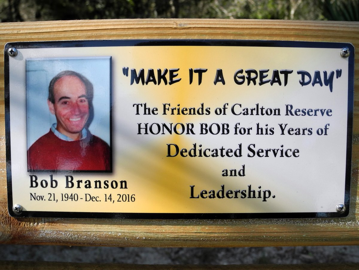 Carlton Friends and Volunteers at Bench to Honor Bob Branson & Family