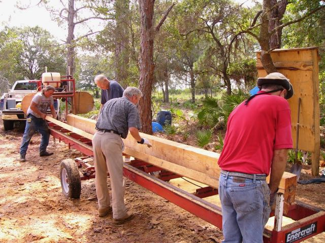 Portable sawmill, beam for pole barn